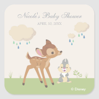 Bambi | Neutral Baby Shower Square Sticker