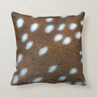 Bambi white spots on a brown fur throw pillow