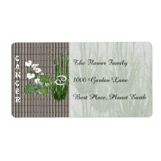Bamboo and Lily Cancer Shipping Label
