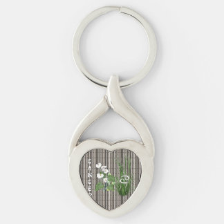 Bamboo and Lily Cancer Silver-Colored Twisted Heart Keychain