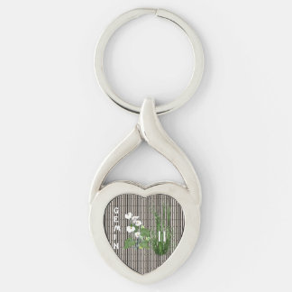 Bamboo and Lily Gemini Silver-Colored Twisted Heart Keychain