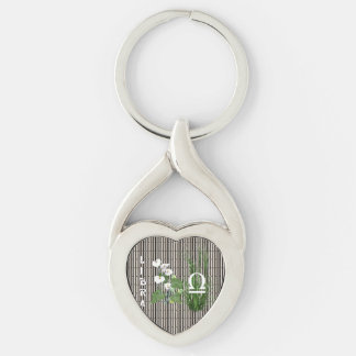 Bamboo and Lily Libra Silver-Colored Twisted Heart Keychain