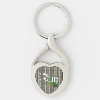 Bamboo and Lily Virgo Silver-Colored Twisted Heart Keychain