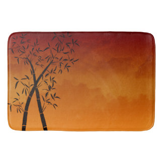 Bamboo and mountain view Scene Bathroom Mat