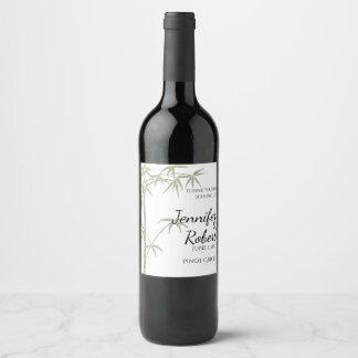 Bamboo Beauty Wedding Wine Label