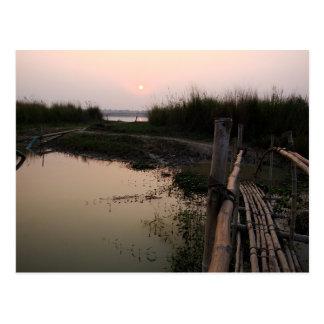 Bamboo Bridge, Ganges, West Bengal, India Postcard