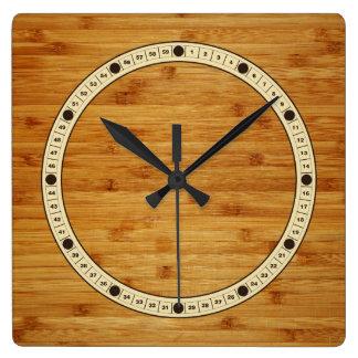 Bamboo Butcher Block Square Wall Clock