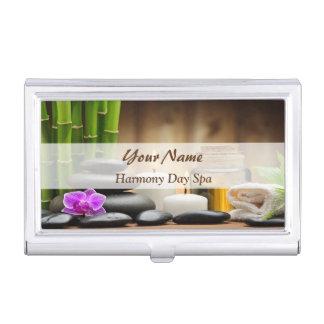 Bamboo Flower Oil Zen Spa Massage Business Card Holder