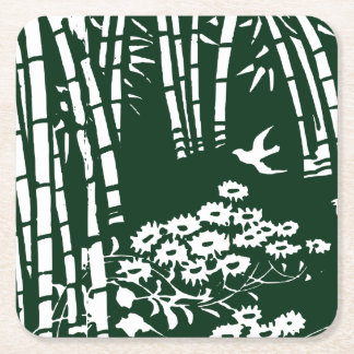 Bamboo Forest--Old Japanese Art Square Paper Coaster