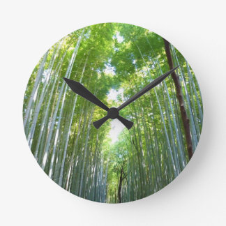 Bamboo Forest With Morning Sunlight Wallclock