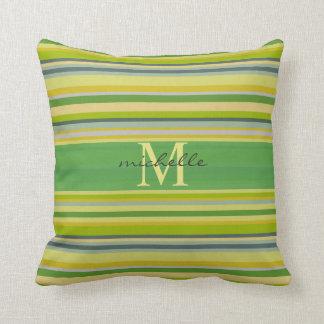 Bamboo Greens Multi-Stripe Pattern Mongram Throw Pillow