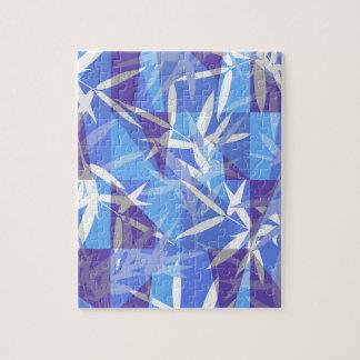 Bamboo in Blue Geometric Pattern Jigsaw Puzzle