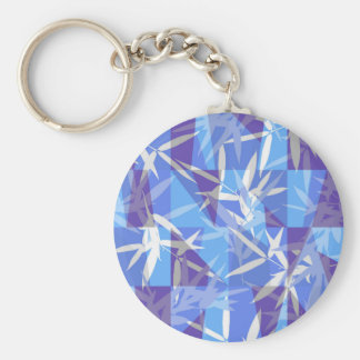 Bamboo in Blue Geometric Pattern Keychain