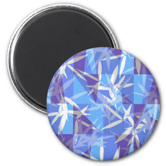 Bamboo in Blue Geometric Pattern Magnet