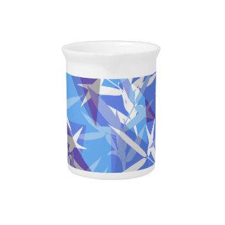 Bamboo in Blue Geometric Pattern Pitcher