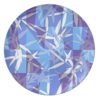 Bamboo in Blue Geometric Pattern Plate