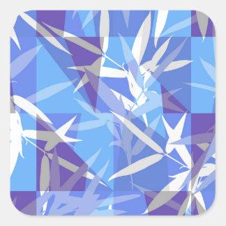 Bamboo in Blue Geometric Pattern Square Sticker