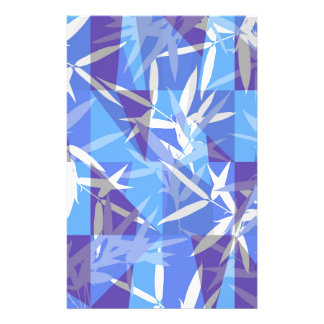 Bamboo in Blue Geometric Pattern Stationery