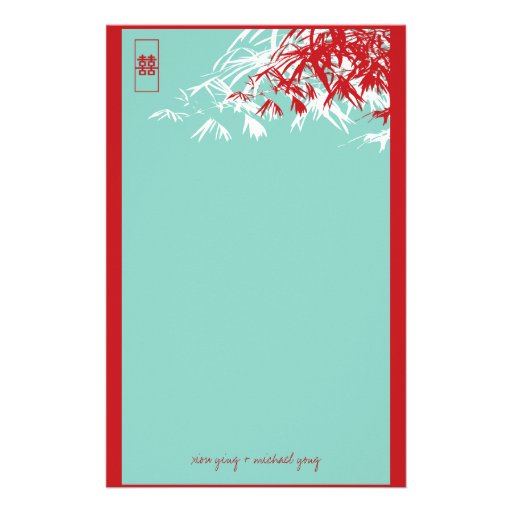 Bamboo Leaves + Double Xi Blue Wedding Stationery