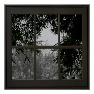 Bamboo Leaves Faux Window Illusion 24x24 Black Poster
