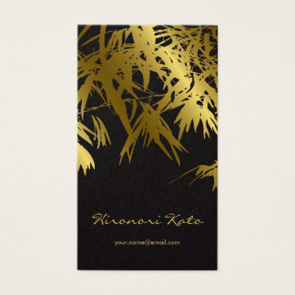 Bamboo Leaves Gold + Black Zen Custom Profile Card
