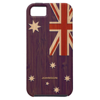 Bamboo Look & Engraved Australia Australian Flag iPhone 5 Covers