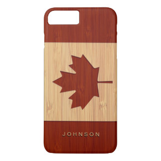 Bamboo Look Engraved Canada Flag Maple Leaf iPhone 7 Plus Case