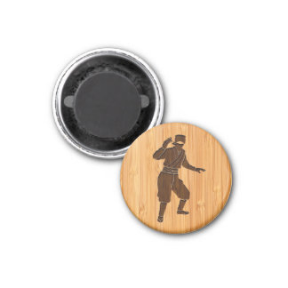 Bamboo Look & Engraved Cool Japanese Ninja 1 Inch Round Magnet
