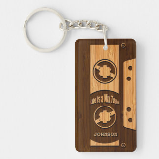 Bamboo Look & Engraved Life is a Mix Tape Double-Sided Rectangular Acrylic Keychain
