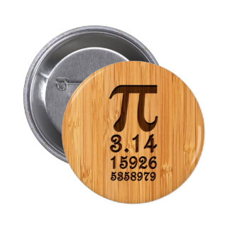 Bamboo Look & Engraved Pi Numbers 2 Inch Round Button