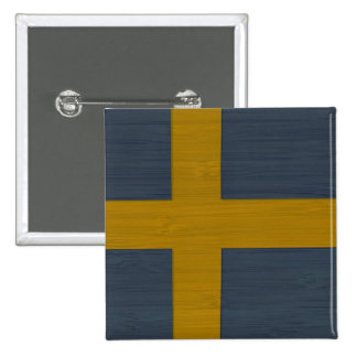 Bamboo Look & Engraved Sweden Swedish Sverige Flag 2 Inch Square Button