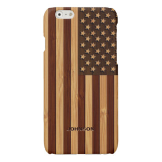 Bamboo Look & Engraved Vintage American USA Flag