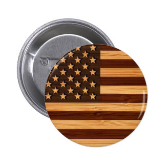 Bamboo Look & Engraved Vintage American USA Flag 2 Inch Round Button