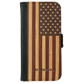 Bamboo Look & Engraved Vintage American USA Flag iPhone 6 Wallet Case