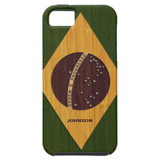 Bamboo Look & Engraved Vintage Brazil Flag iPhone 5 Covers