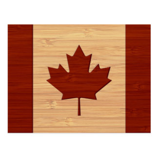 Bamboo Look & Engraved Vintage Canada Flag Postcard