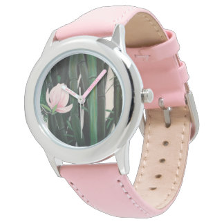 Bamboo magnolias - custom watch, leather band watch