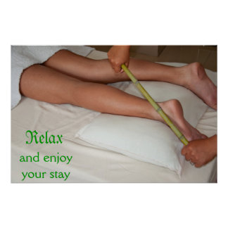Bamboo Massage On Ankle Poster