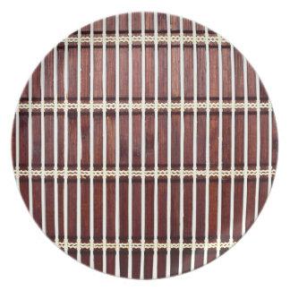 bamboo mat texture dinner plate
