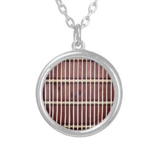 bamboo mat texture silver plated necklace