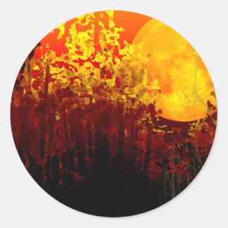 bamboo moon classic round sticker