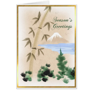 Bamboo & Mt Fuji Japanese Christmas Greeting Card