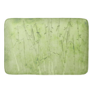 Bamboo On A Faded Green Background Bath Mat