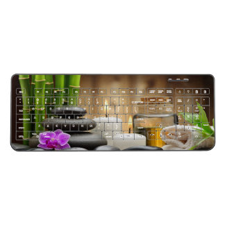 Bamboo Orchid Stones Spa Relaxing Wireless Keyboard