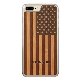 Bamboo Pattern Engraved Vintage American USA Flag Carved iPhone 7 Plus Case