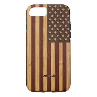 Bamboo Pattern Engraved Vintage American USA Flag iPhone 7 Case