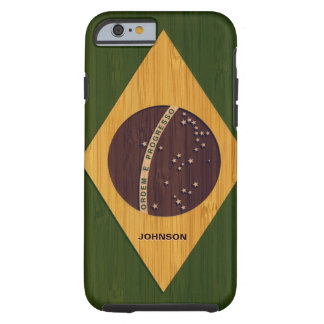 Bamboo Pattern & Engraved Vintage Brazil Flag Tough iPhone 6 Case