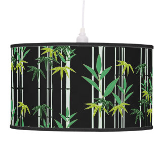 Bamboo Pattern on Black BackgroundGreen Pendant Lamp