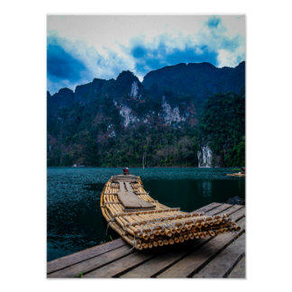 Bamboo raft in Khao Sok National Park Thailand Poster