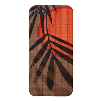 Bamboo & Red Moon Tropical Customized Template iPhone 5/5S Cover